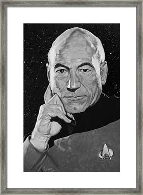 Jean Luc Picard Framed Print by Adam Lusso