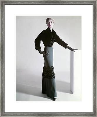 Jean Patchett Wears A Mainbocher Jacket Framed Print