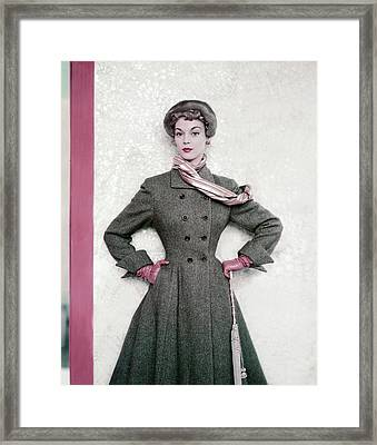 Jean Patchett Wears A Paris Collections Coat Framed Print