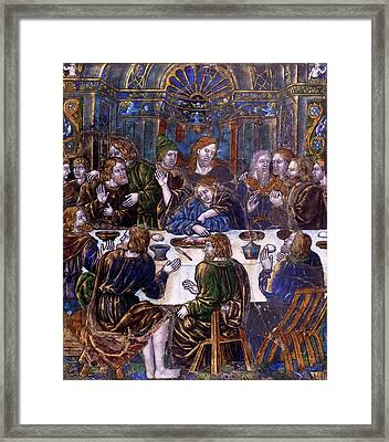 Jean Penicaud I, Plaque With The Last Supper Framed Print