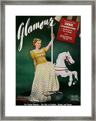 Jeanette Macdonald On The Cover Of Glamour Framed Print by John Rawlings
