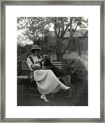 Jeanne Eagels Sitting Down On A Park Bench Framed Print