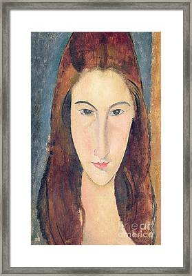Jeanne Hebuterne Framed Print by Amedeo Modigliani