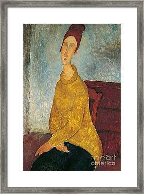 Jeanne Hebuterne In Yellow Sweater Framed Print by Amedeo Modigliani