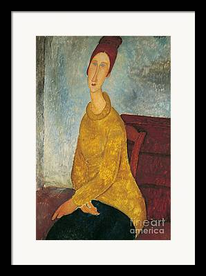 Yellow Sweater Framed Prints