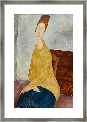 Jeanne Hebuterne With Yellow Sweater Framed Print by Celestial Images