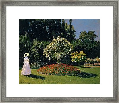 Jeanne-marguerite Lecadre In The Garden Sainte-adresse Framed Print by Claude Monet