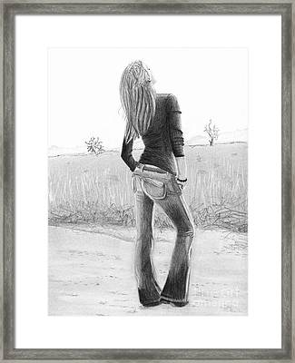Framed Print featuring the drawing Jeans by Denise Deiloh
