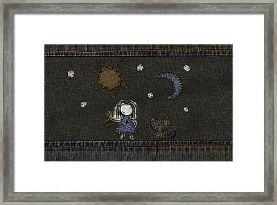 Jeans Stitches Framed Print