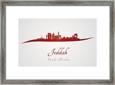 Jeddah Skyline In Red Framed Print by Pablo Romero
