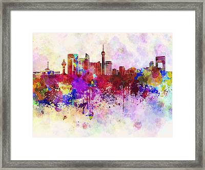 Jeddah Skyline In Watercolor Background Framed Print by Pablo Romero