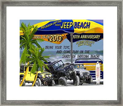 Framed Print featuring the photograph Jeep Beach 2013 Welcomes All Jeepers by DigiArt Diaries by Vicky B Fuller