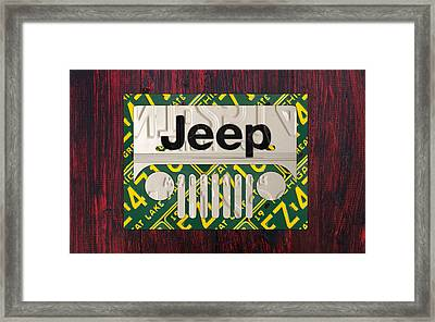 Jeep Vintage Logo Recycled License Plate Art Framed Print