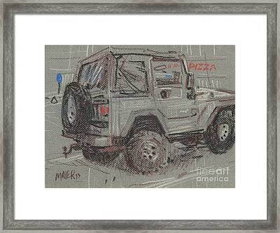 Jeep With Pizza Framed Print by Donald Maier