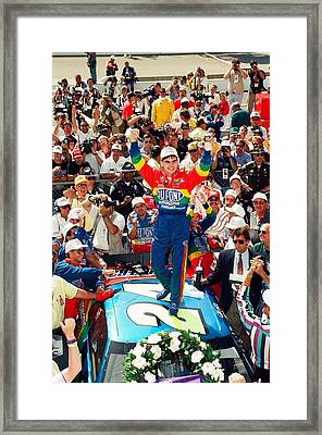 Jeff Gordon At The Brickyard Framed Print by Retro Images Archive