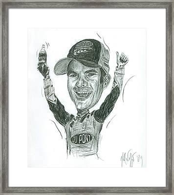 Jeff Gordon Caricature Framed Print by Michael Morgan