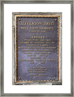 Jefferson Davis Marker Framed Print by Reid Callaway