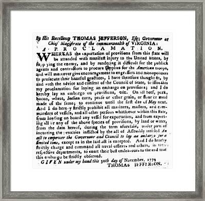 Jefferson: Embargo, 1779 Framed Print by Granger