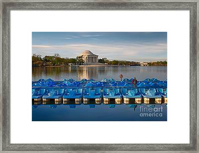 Jefferson Memorial And Paddle Boats Framed Print by Jerry Fornarotto