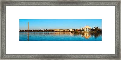 Jefferson Memorial And Washington Framed Print