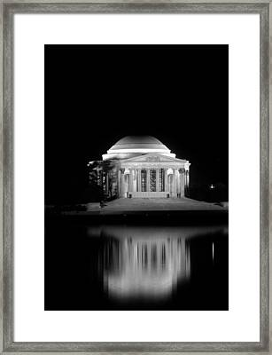 Jefferson Memorial At Night In Black And White Framed Print