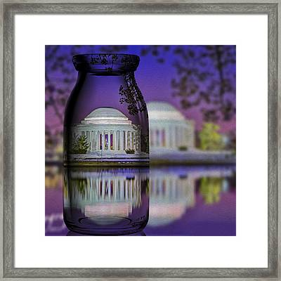 Jefferson Memorial In A Bottle Framed Print by Susan Candelario