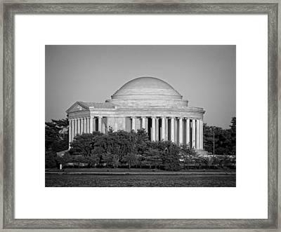 Jefferson Memorial In Black And White Framed Print