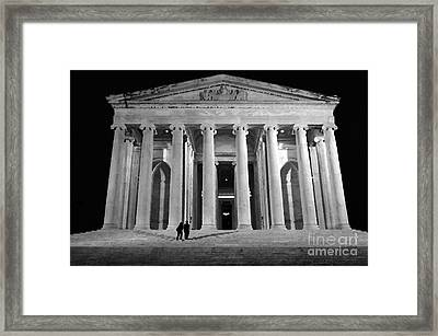 Jefferson Monument At Night Framed Print by Lane Erickson