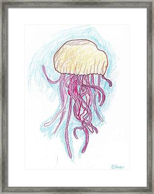 Jelly Fish Floating Framed Print by Ethan Chaupiz