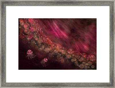 Jellyfish And Abstract In Fuchsia Framed Print