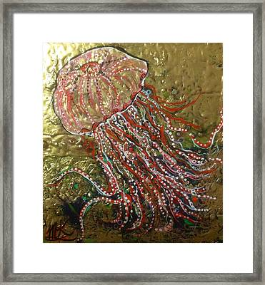 Jellyfish Pink And Gold  Framed Print by Michaela Kraemer