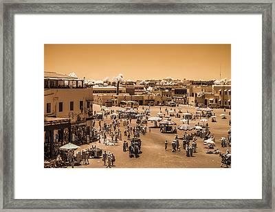 Jemaa El Fna Market In Marrakech At Noon Framed Print