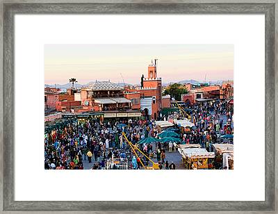 Jemaa El Fna Square At Dusk In Marrakesh Morroco Framed Print by David Smith