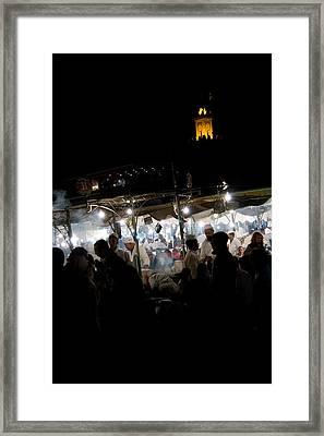 Jemaa El Fna Square In Marrakesh At Nightorroco Framed Print