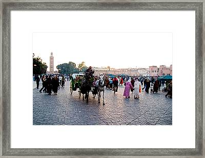 Jemaa El Fna Square In Marrakesh. Morroco Framed Print by David Smith