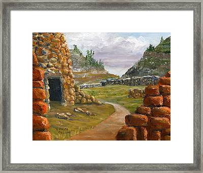 Framed Print featuring the painting Jemez Inspired Pathway Landscape by Lenora  De Lude
