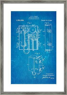 Jenkins Portable Telephone Patent Art 1920 Blueprint Framed Print by Ian Monk