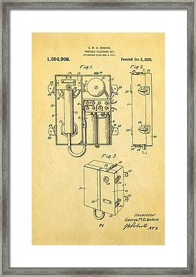 Jenkins Portable Telephone Patent Art 1920 Framed Print by Ian Monk