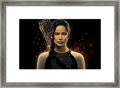 Jennifer Lawrence As Katniss Everdeen Framed Print by Movie Poster Prints
