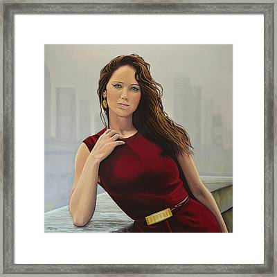 Jennifer Lawrence Painting Framed Print by Paul Meijering