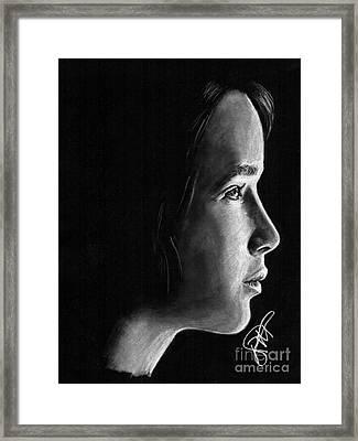 Jennifer Lawrence Framed Print by Rosalinda Markle