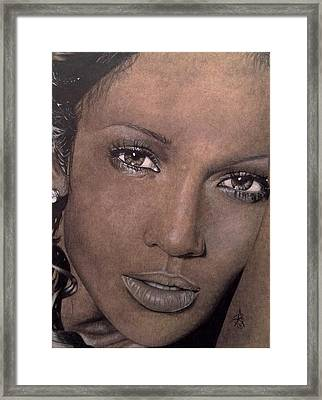 Jennifer Lopez Framed Print by Angelee Borrero