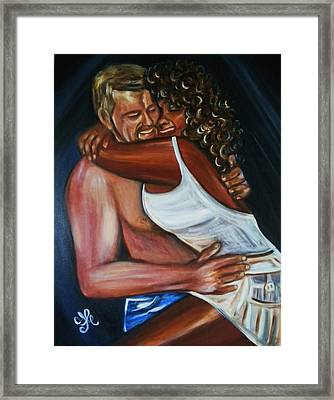 Jenny And Rene - Interracial Lovers Series Framed Print