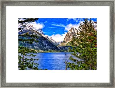 Framed Print featuring the painting Jenny Lake by Michael Pickett