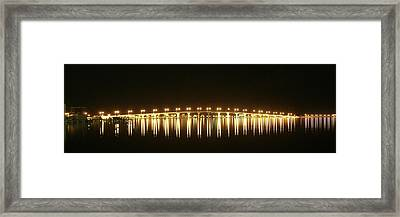 Jensen Causeway At Night Framed Print by Lynda Dawson-Youngclaus