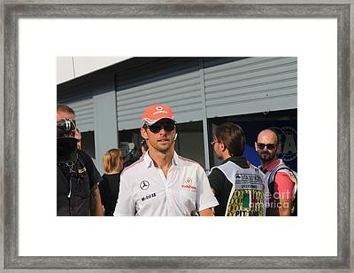 Jenson Button Framed Print by David Grant