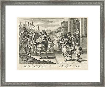 Jephthah Is Welcomed By His Daughter, Nicolaes Ryckmans Framed Print