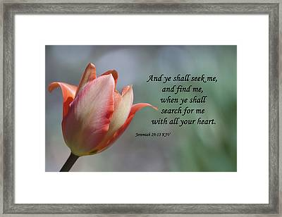 Jeremiah 29 13 Framed Print by Inspirational  Designs