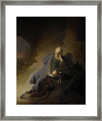 Jeremiah Lamenting Over The Destruction Of Jerusalem, 1630 Oil On Panel Framed Print by Rembrandt Harmensz. van Rijn