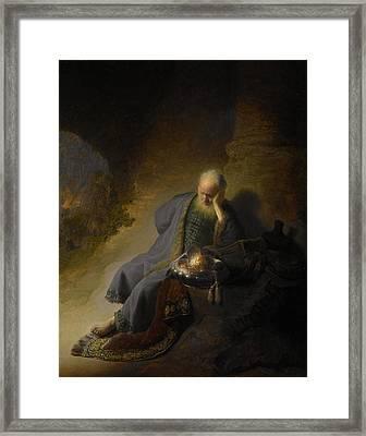 Jeremiah Lamenting The Destruction Of Jerusalem Framed Print by Rembrandt van Rijn